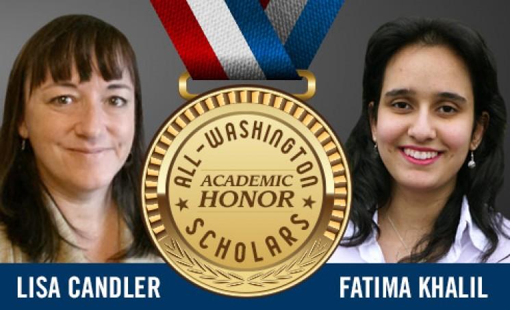 Highline College All Washington Academic Team 2016 Lisa Candler and Fatima Khalil
