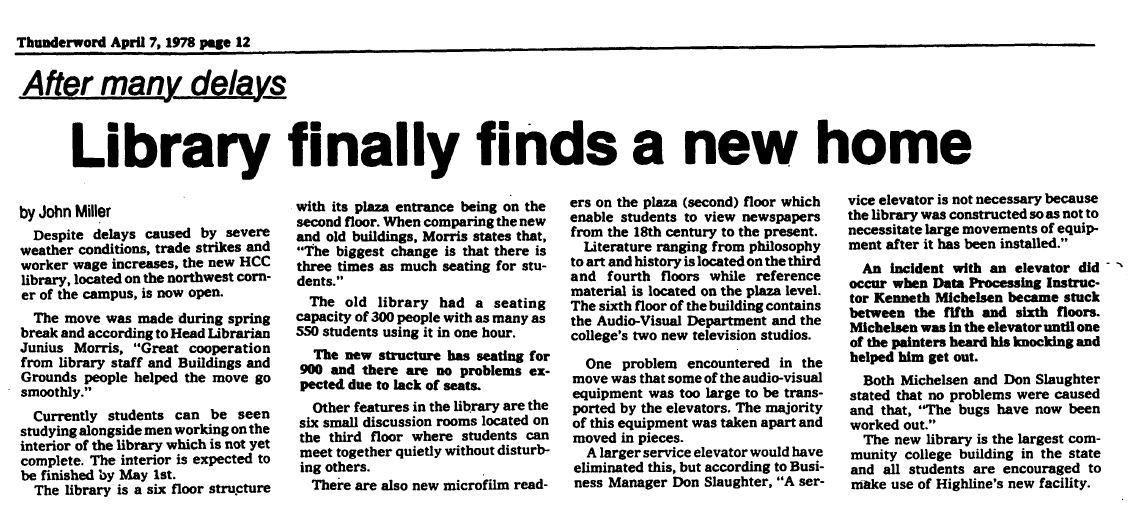 Thunderword newspaper, 4/7/1978
