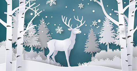 Illustration of deer and trees landscape