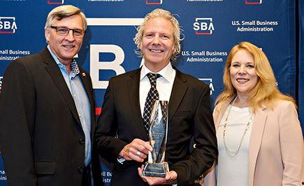 Photo of Rich Shockley, Danny House and Jennifer Dye at national SBA awards ceremony, April 2018