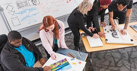 Design students at Highline College